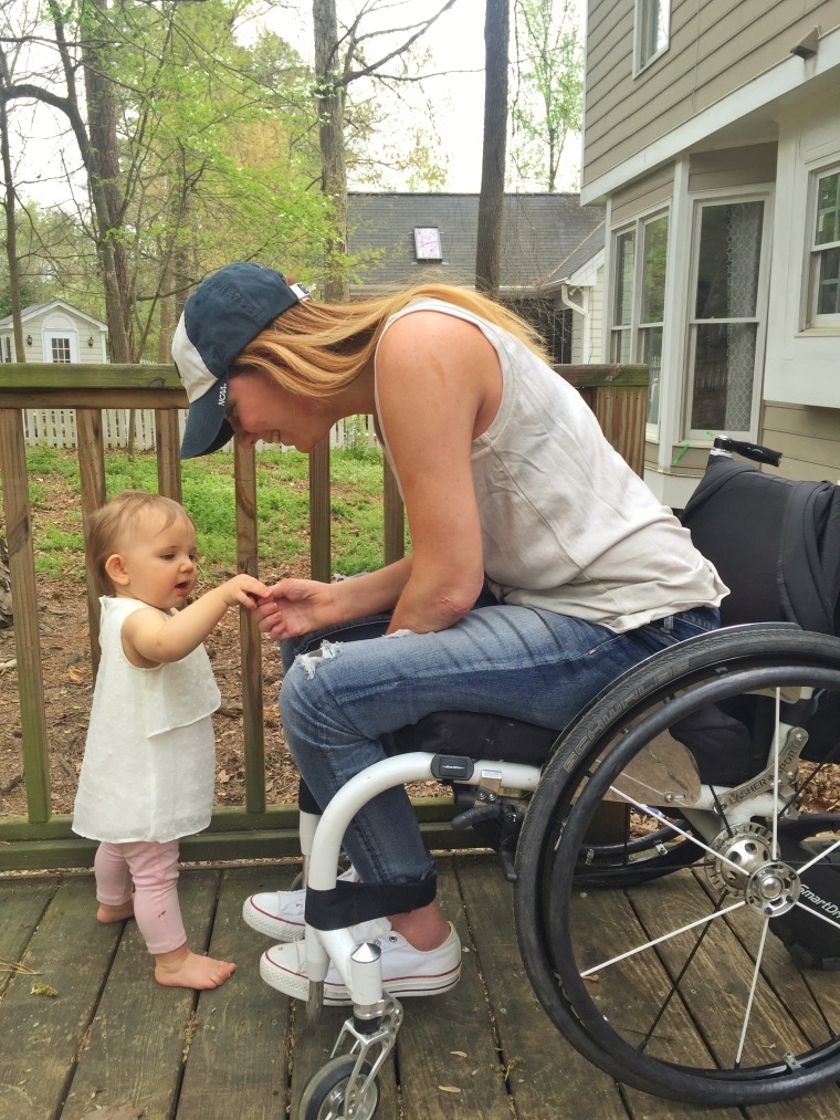 "Image of ""paralyzed bride"" Rachelle Chapman and her daughter, Kaylee"
