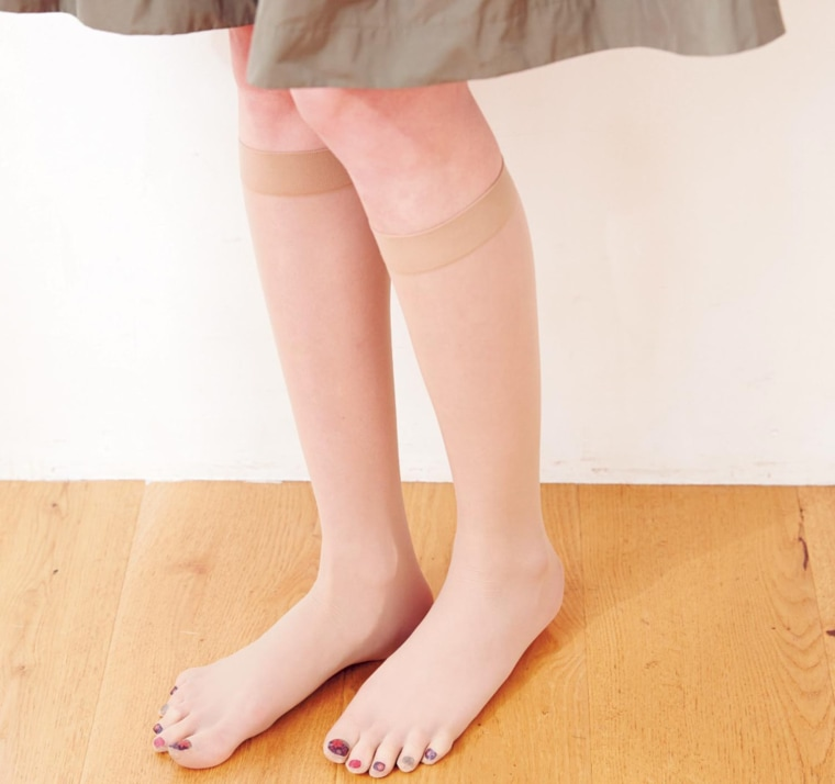 Nail polish stockings with a built-in pedicure