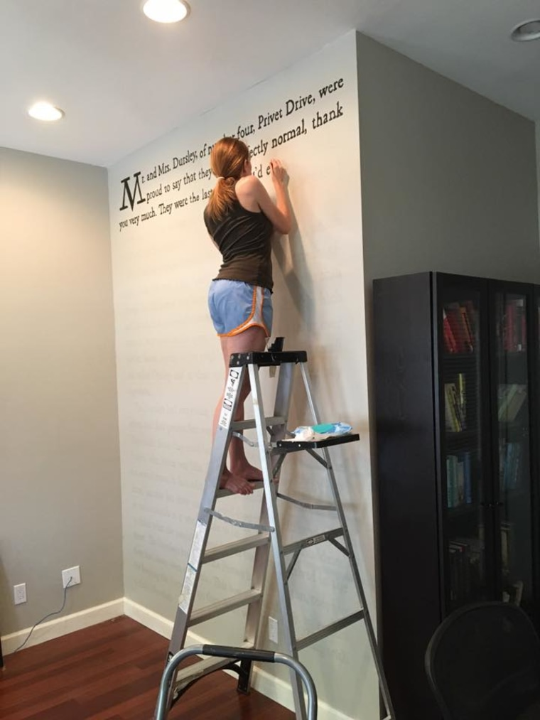"""Meredith McCardle painted a wall in her home with the text of the first page of """"Harry Potter and the Sorcerer's Stone"""""""