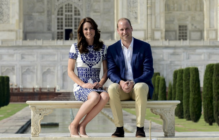 Britain's Prince William and Catherine pose in front of the Taj Mahal