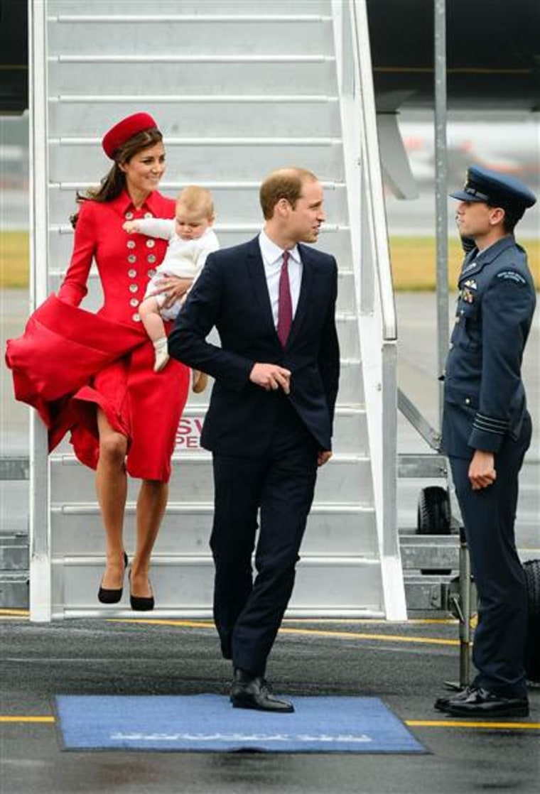 The Duke and Duchess of Cambridge, carrying their son, Prince George, at their April 2014 arrival in Wellington, New Zealand.