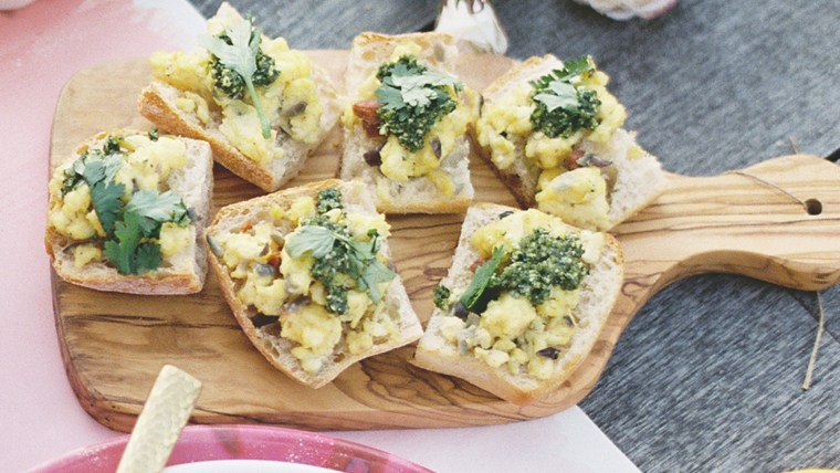 Bobby Flay's Calabrian Scrambled Eggs with Jalapeno Pesto Bruschetta