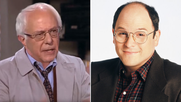 "Bernie Sanders' head (on Jason Alexander's body), and Alexander as George from ""Seinfeld."""