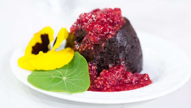 Ryan Scott's recipe for microwavable chocolate lava cake with raspberry sauce
