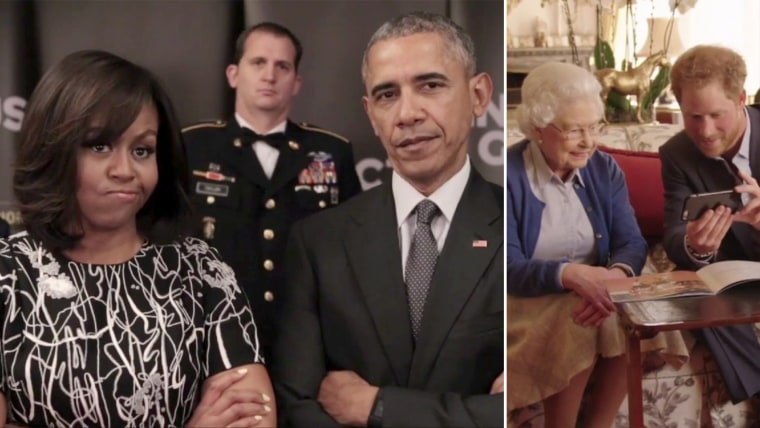 Prince Harry and Queen Elizabeth II respond to a video from President Obama and the First Lady