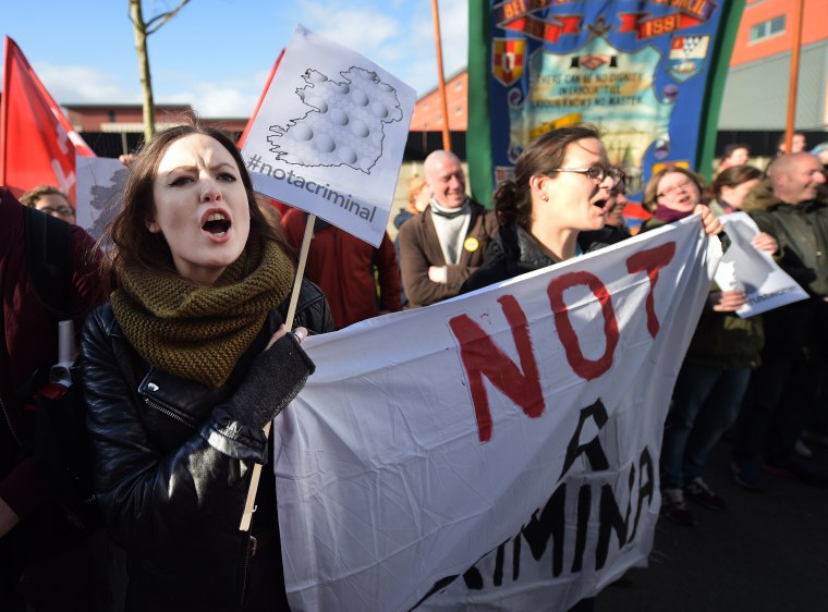 Image: Abortion rights advocates protest in Belfast, Northern Ireland, on April 7