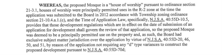 An excerpt of of the Bernards Township Planning Board resolution saying that a reapplication would be reviewed under 2012 guidelines.
