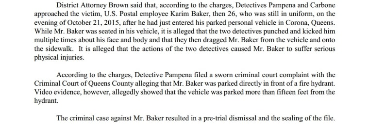 An excerpt of a statement from the Queens District Attorney detailing the charges against two NYPD detectives.