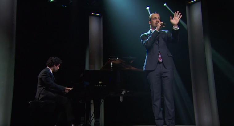 Lin-Manuel Miranda performing on 'Last Week Tonight with John Oliver'