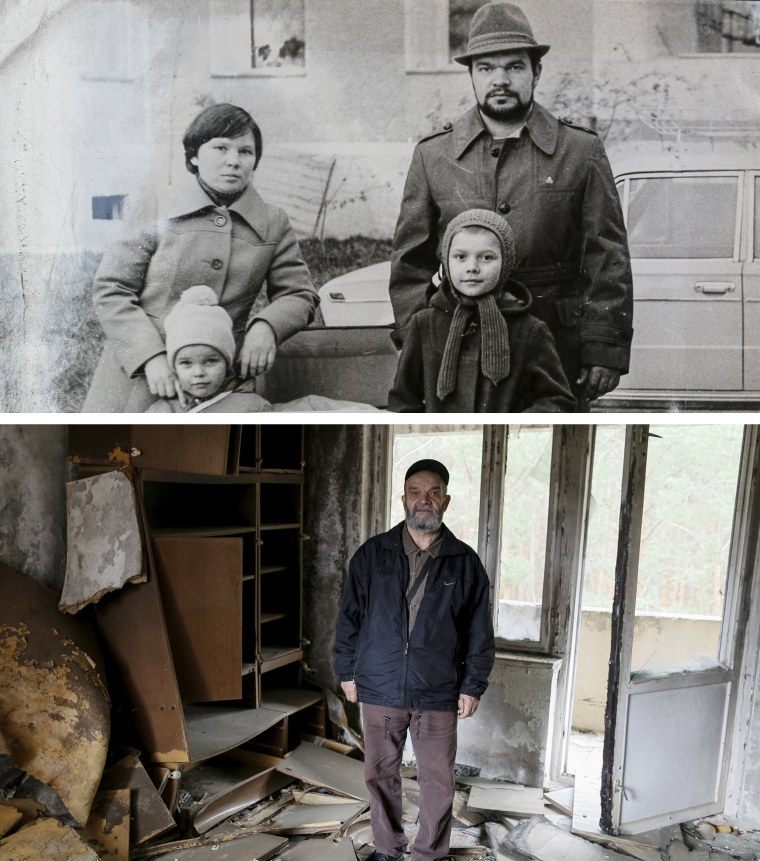 A combo image of an undated family photograph shows Nikolay Chernyavskiy and his wife Tatyana before the nuclear disaster and Nikolay, now 66, posing in his old apartment. Returning to their hometown of Pripyat on the eve of the anniversary, they recall their confusion and sacrifice in the wake of the explosion.