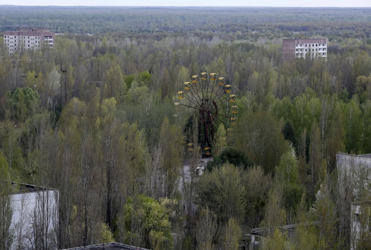 Image: A view of the abandoned city of Pripyat is seen near the Chernobyl nuclear power plant