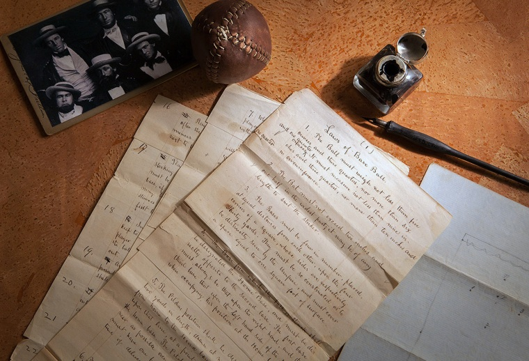 """The 1857 documents titled """"Laws of Base Ball,"""" pictured on Feb. 11, 2016.  Baseball may have found its birth certificate. And with it a new birth date, and new founding father. Coinciding with the start of the professional baseball season, a set of game-changing documents went up for sale this week. Their authenticity and significance are verified by experts including John Thorn, Major League Baseball's official historian."""