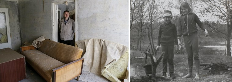 A combo image shows Oleksiy Yermakov, 41, in his old apartment and an undated photograph of Yermakov before the disaster.