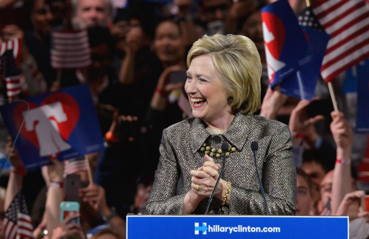 Image: Democratic U.S. presidential candidate Hillary Clinton takes the stage at her five state primary night rally in Philadelphia