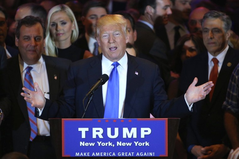 Image: US Republican candidate Donald Trump speaks about five-state primary voting results in New York, New York