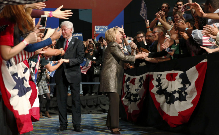Image: Hillary and Bill Clinton greet supporters Tuesday night in Philadelphia
