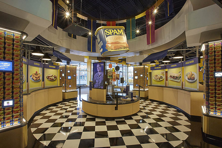 The interior of the Spam Museum, featuring popular Spam dishes, including Spam musubi.
