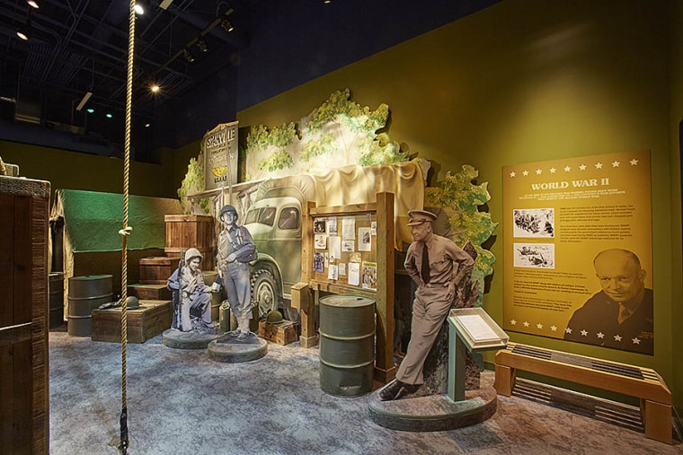 An exhibit focused on Spam's role in the military in the newly-opened Spam Museum in Austin, Minnesota.