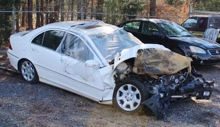 Image: Christal McGee's Crashed 2005 Mercedes c230 after a collision in Hampton, Georgia