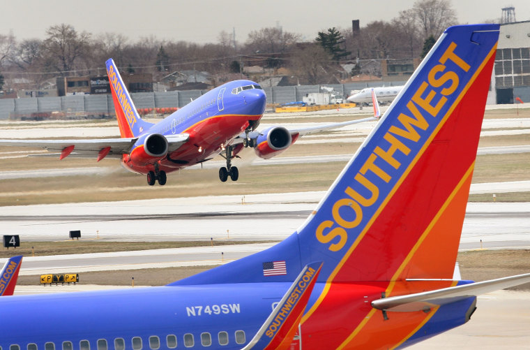 A Southwest Airlines jet takes off at Midway Airport April 3, 2008 in Chicago, Illinois.