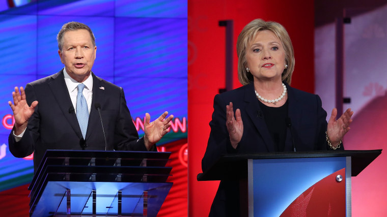 Governor of Ohio John Kasich and Former Secretary of State Hillary Clinton.