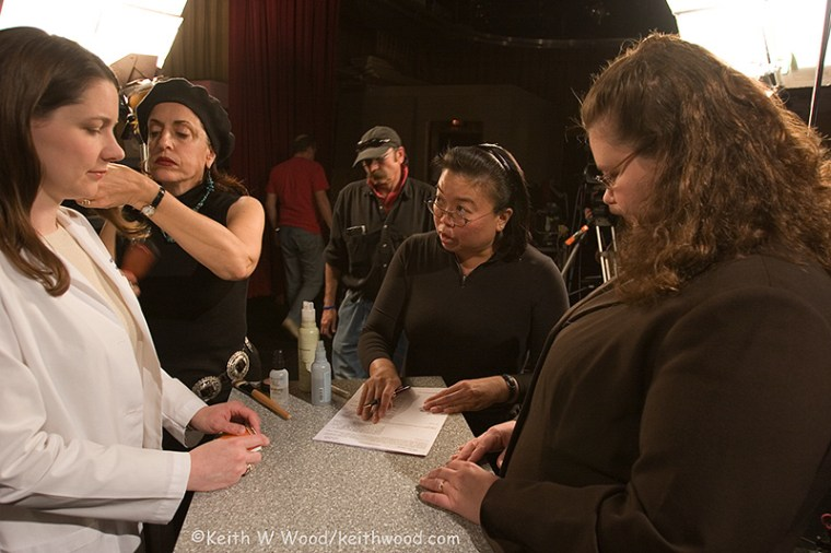 E. Samantha Cheng, center, working during a film shoot. Cheng's newest documentary, on the Chinese-American community in the Mississippi Delta is scheduled to debut May 1.