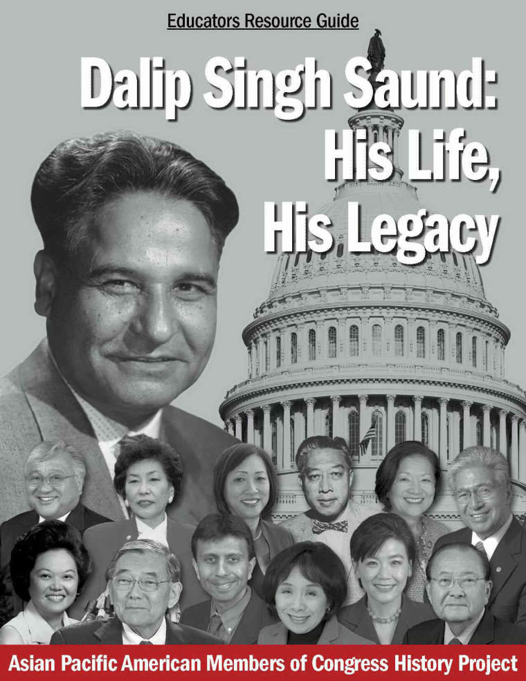 The cover of a resource guide for Cheng's documentary on Dalip Singh Saund, the first Asian-, Indian-, and Sikh-American member of Congress.