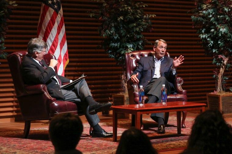 Former Speaker of the House John Boehner speaks at Stanford University on April 27, 2016.