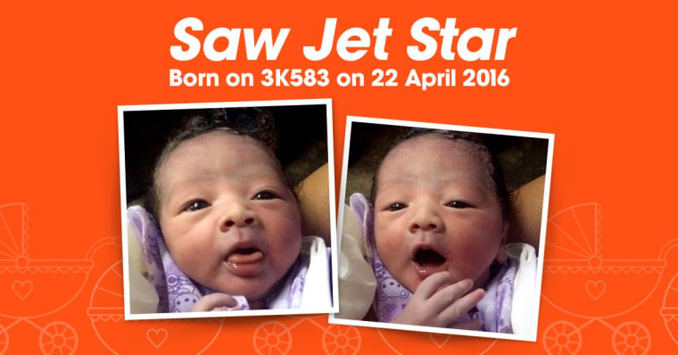 Jetstar Asia posted these photos on Facebook of a baby boy born on a flight on April 22.