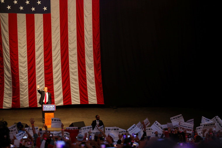Image: Republican U.S. presidential candidate Donald Trump arrives to speak at a campaign rally in Costa Mesa, California