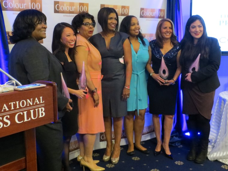 From left, Yvette Miley, Amanda Terkel, April Ryan, Melinda Cooke-Vandaveer, Scarlette Whyte, Suzanne Malveau and Jay Newton Small on April 28, 2016 at the ceremony honoring women of color in the media.