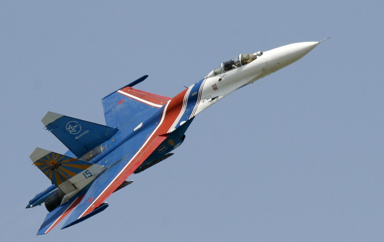 A Russian Su-27 fighter jet makes a low pass during an air show in Rostov-on-Don, southern Russia in 2007.