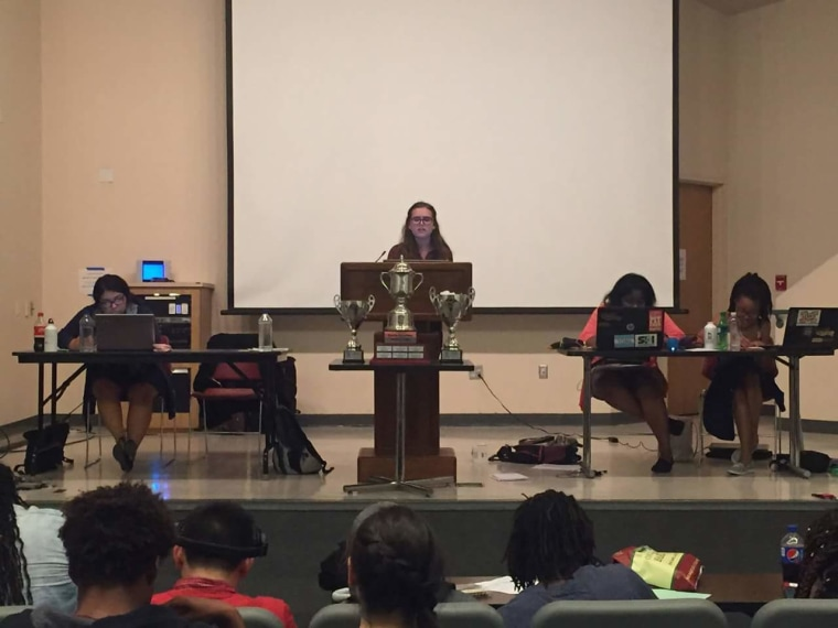 Tamara Morrison (far right) and Tiera Colvin (second to right) compete in a debate. The pair could potentially make history at the Tournament of Champions at the University of Kentucky if they are crowned the first Black female students to win.