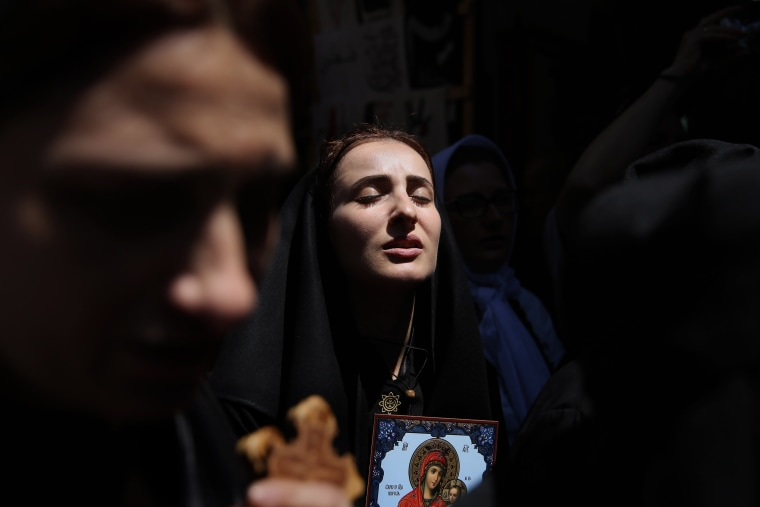 Image: TOPSHOT-ISRAEL-PALESTINIAN-RELIGION-CHRISTIANITY-ORTHODOX-EASTER