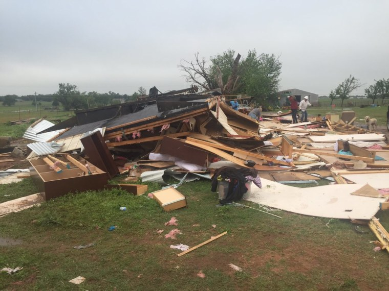 A destroyed home is seen in Fletcher, Oklahoma, Friday, April 29, 2016,  after severe weather hit parts of the state. A teenager was taken to the hospital for anxiety but there were no other injuries, officials said.