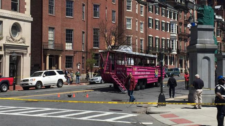 One rider of a motorized scooter was killed and another was injured in a crash with a duck boat in Boston Saturday, police confirm.