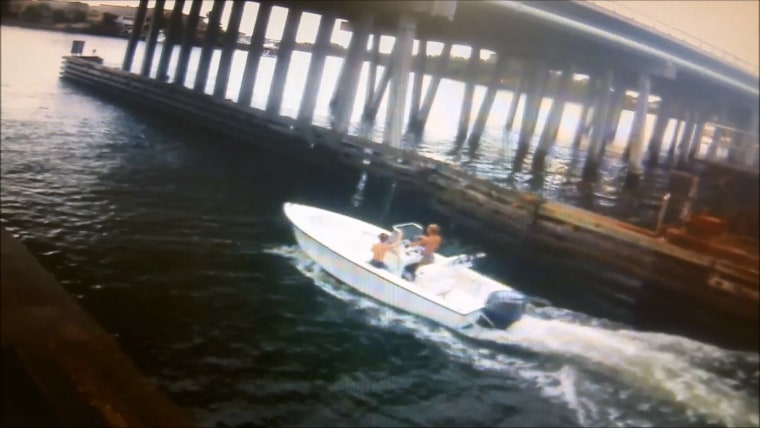 Video released by the Florida Fish and Wildlife Conservation Commission Law Enforcement Division shows two missing teens in a boat heading out of Jupiter Inlet to the Atlantic Ocean in July 2015.