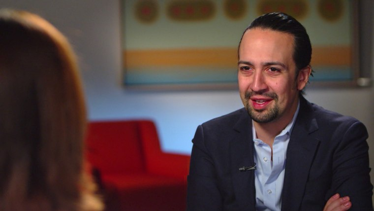Lin-Manuel Miranda talks with NBC News on April 28, 2016, shortly after his father came back from a trip to his hometown in Vega Alta, P.R. amid the deepening economic crisis.