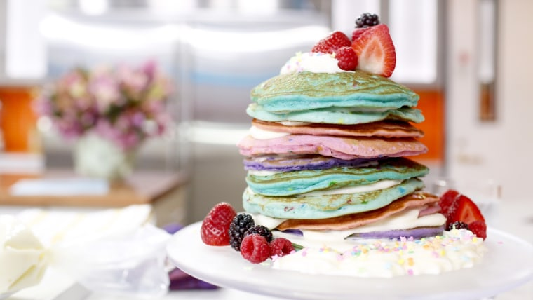 Brandi Milloy makes rainbow pancakes for Mother's Day brunch.