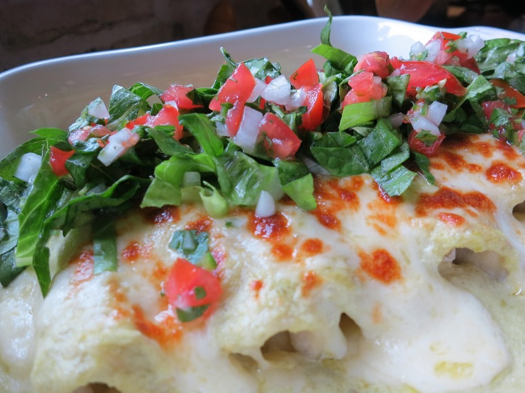 Enchiladas Suizas (Chicken Enchiladas with Tomatillo Sauce)