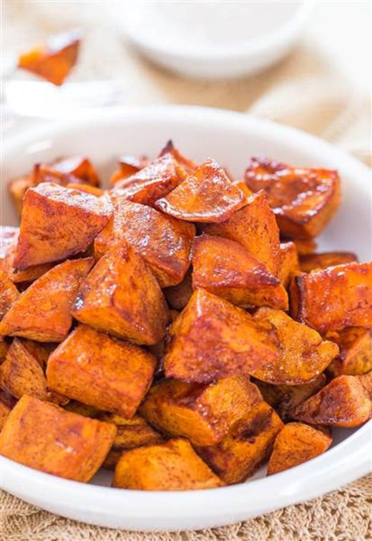 Thanksgiving side recipe: Honey-roasted sweet potatoes with honey-cinnamon dip