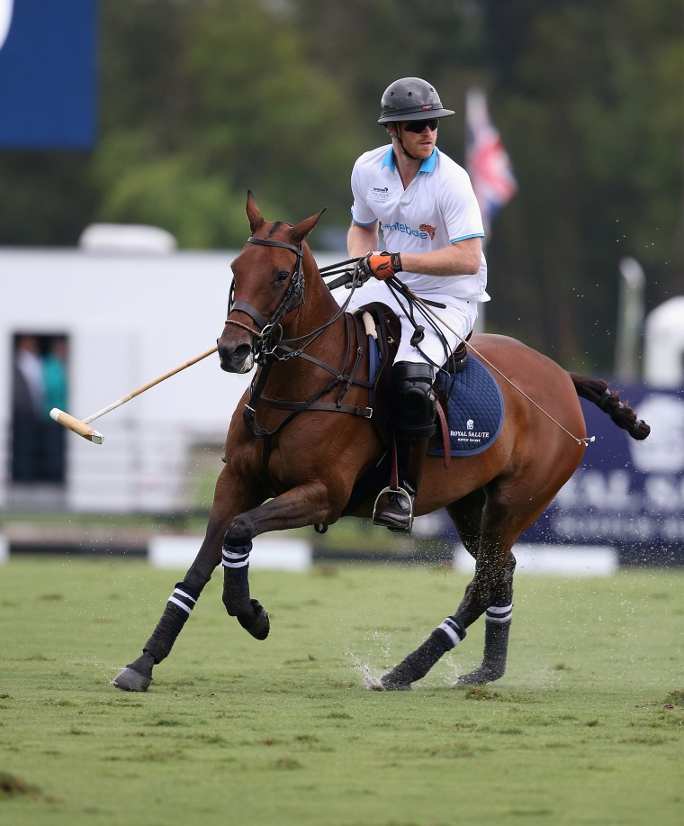 Prince Harry on a horse during the charity polo match benefitting his organization, Sentebale