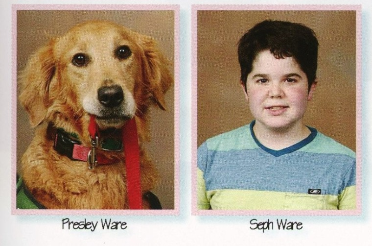 Seph Ware and his dog, Presley, in the school yearbook