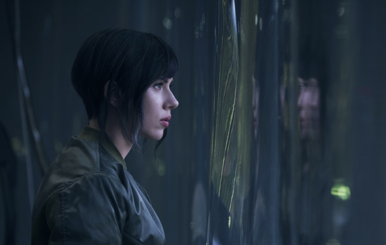 "A promotional still of Scarlett Johansson playing the ""Major"" in ""Ghost in the Shell."" In the source material, her character is named ""Major Motoko Kusanagi."""