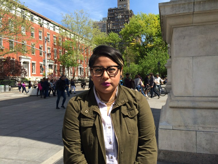 Poet Sonia Guinansaca in Washington Square Park in New York City, New York.