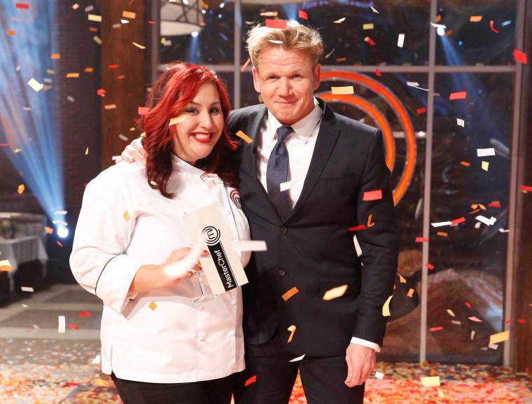 Claudia Sandoval, winner of MASTERCHEF, with host Gordon Ramsay.