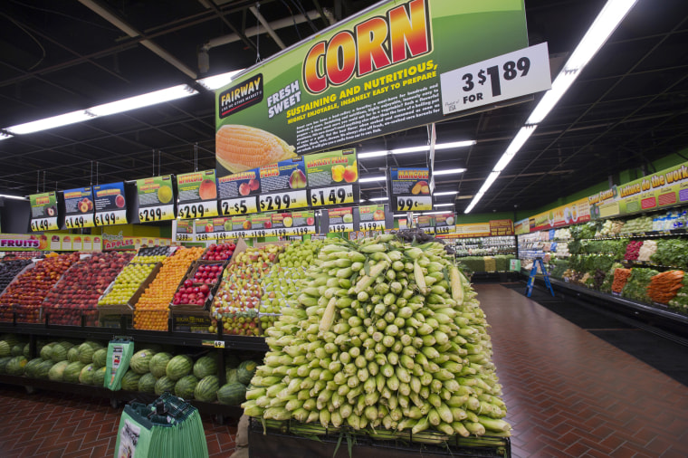 Image: Corn and other produce at the Fairway supermarket in New York