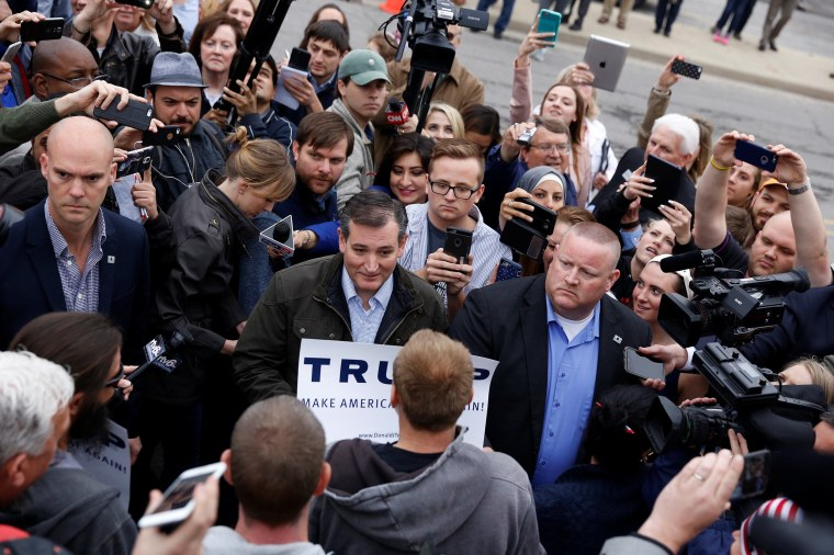 Image: U.S. Republican presidential candidate Ted Cruz speaks with supporters of fellow candidate Donald Trump at a campaign event outside The Mill in Marion, Indiana