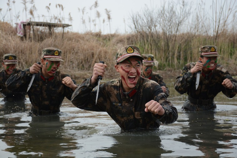 Image: A group of special paramilitary policemen attend a training session in Chuzhou