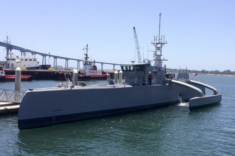 A self-driving, 132-foot military ship sits at a maritime terminal in San Diego on May 2, 2016.  The Pentagon's research arm is launching tests on the world's largest unmanned surface vessel designed to travel thousands of miles out at sea without a single crew member on board.